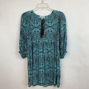 Umgee A Line Dress Blue Drawstring Ruffle Skirt
